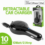 Cellet 10 Watt (2.1 Amp) Lightning 8 Pin Retractable Car Charger for iPod, iPhone, iPad (Apple MFI Certified) - Mobile Accessories USA