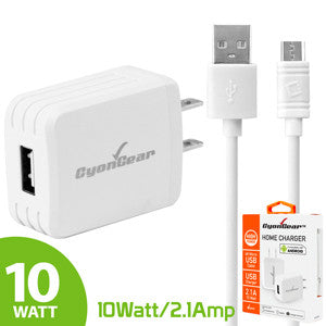 CyonGear Hi-Powered 10W / 2.1 Amp Home Charger (Micro USB cable included) - White - Mobile Accessories USA