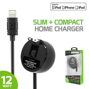 iPhone Charger, Cellet High Power 2.4A /12W Apple MFI Certified Retractable Lightning Home Charger for iPad, iPhone, iPad - Mobile Accessories USA