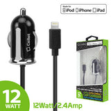 Cellet Ultra Compact Apple MFI Certified 2.4A / 12Watt Lightning 8 Pin Car Charger-Black - Mobile Accessories USA