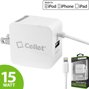 Cellet 15Watt (3.1Amp) Home Travel Wall Charger with USB Port for Apple iPads, iPhones, & iPods (Licensed by Apple, MFI Certified) - Mobile Accessories USA