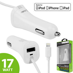 Cellet 3.4Amp / 17W (2.4A + 1A) Apple MFI Certified Lightning 8 Pin Cable with USB Port Car Charger - White - Mobile Accessories USA