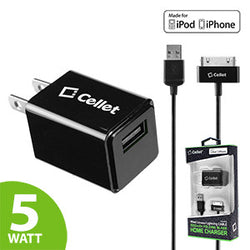 Cellet 5 Watt (1 Amp) with Folding Blades Single Port Home Charger (30 Pin Cable Included, Apple MFI Certified) - Black - Mobile Accessories USA