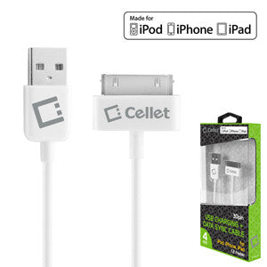 Cellet APPLE APPROVED White USB Data Cable For Apple iPhones, iPad (Approx 4ft. Long) (Made for iPhone Licensed by Apple) - Mobile Accessories USA