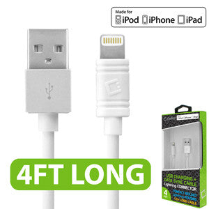 Cellet Apple Licensed 4 Ft. Lightning 8 Pin to USB Charging/Data Sync Cable - White - Mobile Accessories USA