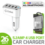 Cellet Universal 26W 5.2 Amp 4-Port Car Charger for Android and Apple Devices - White - Mobile Accessories USA