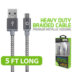 Cellet Premium Braided & Metallic Housing 5 Ft. Micro USB Charging / Data Cable - Mobile Accessories USA