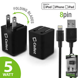 Cellet 5 Watt (1 Amp) with Folding Blades Single Port Home Charger (Lightning Cable Included, Apple MFI Certified) - Black - Mobile Accessories USA