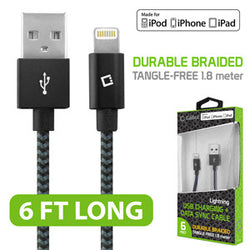 Cellet Lightning 8 Pin (Apple MFI Certified) 6ft. (1.8m) Nylon Braided USB Charging plus Data Sync Cable - Mobile Accessories USA