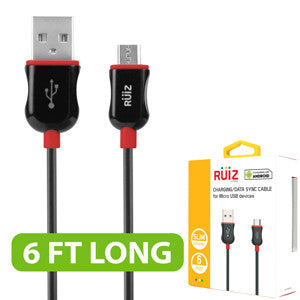 RUIZ by Cellet (6ft) Charging/Data Sync Micro USB Cable - Red - Mobile Accessories USA