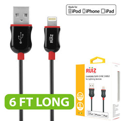 RUIZ by Cellet Apple MFI Certified 6ft. Lightning 8 Pin Charging/Data Sync Cable for iPad, iPhone, iPod - Red - Mobile Accessories USA