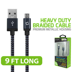 Cellet Premium Braided & Metallic Housing 9 Ft. Micro USB Charging / Data Cable - Mobile Accessories USA