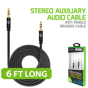 Cellet 3.5mm Premium Anti-Tangle Braided Aux Audio Cable for iPhones, iPods, iPads, Headphones, Smartphones for Home and Car Stereos - Black - Mobile Accessories USA