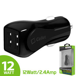 Cellet Prism RapidCharge 12W 2.4A Dual USB Car Charger for Android and Apple Devices - Black - Mobile Accessories USA