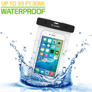 Cellet Universal IPX8 Waterproof Case for Apple iPhone 7 Plus, 6s Plus, Samsung Galaxy S7 edge, Large Smartphones, Digital Cameras, MP3 Players and More - Black - Mobile Accessories USA