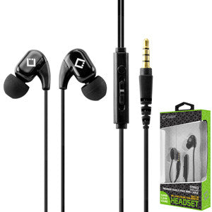 Cellet 3.5mm Hands Free Stereo Headset With Built-in Microphone - Black - Mobile Accessories USA