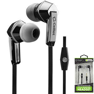 Cellet Square 3.5mm Flat Wire Stereo Hands-Free Ear Buds - Black/Gray - Mobile Accessories USA
