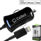 Cellet Black Apple Certified 10Watt (2.1Amp) Lightning 8 Pin Ultra Compact, Super Fast Car Charger (Made for iPhone and iPad) - Mobile Accessories USA