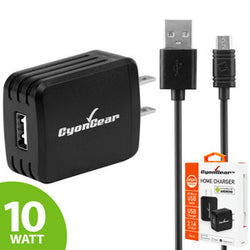 CyonGear Hi-Powered 10W / 2.1 Amp Home Charger (Micro USB cable included) - Black - Mobile Accessories USA