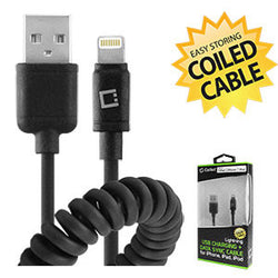 Cellet Apple Licensed Durable Lightning 8 Pin to USB Charging/Data Sync Coiled Cable - Black - Mobile Accessories USA