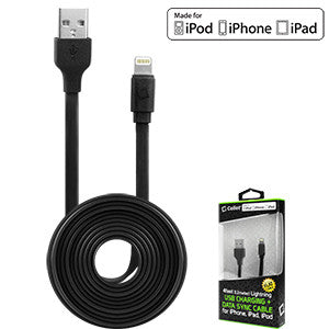 Cellet 4 Ft. Anti-Tangle Lightning 8 Pin Flat Wire Charging Data Sync Cable (Apple MFI Certified) - Black - Mobile Accessories USA