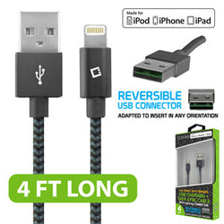 Cellet 4ft. Heavy Duty Braided Apple MFI Certified Lightning to Reversible USB Charging/Data Sync Cable - Black - Mobile Accessories USA