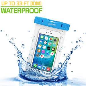 Cellet Universal IPX8 Waterproof Case for Apple iPhone 7 Plus, 6s Plus, Samsung Galaxy S7 edge, Large Smartphones, Digital Cameras, MP3 Players and More - Blue - Mobile Accessories USA
