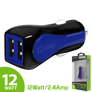 Cellet Prism RapidCharge 12W 2.4A Dual USB Car Charger for Android and Apple Devices - Blue - Mobile Accessories USA