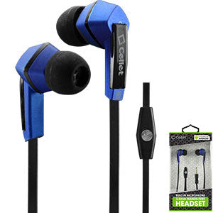 Cellet Square 3.5mm Flat Wire Stereo Hands-Free Ear Buds - Black/Blue - Mobile Accessories USA