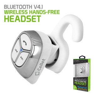 Cellet Ultra-Compact Bluetooth V4.1 Mono Hands-Free Headset - White - Mobile Accessories USA