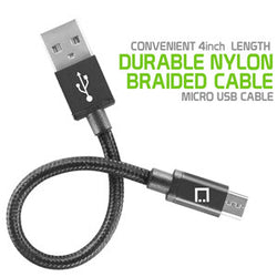 Micro USB Cable, Cellet 4 In. Premium Nylon Braided Micro USB Cable - Mobile Accessories USA