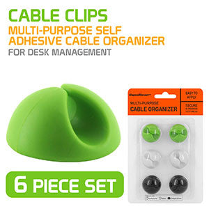 Cable Clips, Multi-Purpose Self Adhesive Cable Organizer- for desk management - 6 piece set- by Cyongear - Mobile Accessories USA