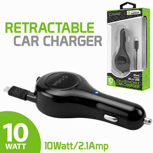 Cellet 10 Watt / 2.1 Amp Micro USB Retractable Car Charger for Android Devices - Mobile Accessories USA