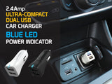 Cellet Ultra-Compact 12Watt / 2.4 Amp Dual USB Car Charger (4ft. Micro USB Cable Included) - White - Mobile Accessories USA