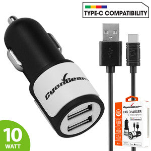 High Power Dual USB Car Charger, CyonGear 2.1A/10W Dual USB Car Charger (USB-C Cable Included) - Mobile Accessories USA
