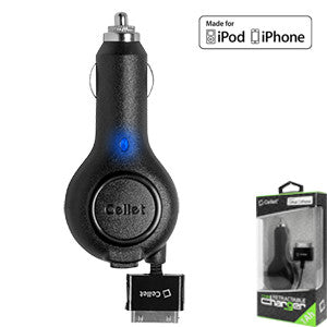 Cellet 5Watt (1Amp) Apple iPhone3, 3GS, Nano, iPod Retractable Plug in Car Charger (Apple MFI Certified) - Mobile Accessories USA