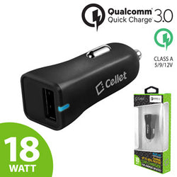 Cellet Ultra-Compact USB Car Charger with Quick Charge 3.0 for Smartphones and Tablets (QC 1.0 & QC 2.0 Device Compatible) - Black - Mobile Accessories USA