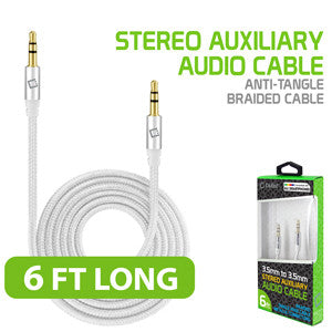 Cellet 3.5mm Premium Anti-Tangle Braided Aux Audio Cable for iPhones, iPods, iPads, Headphones, Smartphones for Home and Car Stereos White/Chrom - Mobile Accessories USA