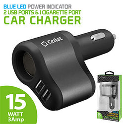 Cellet 3 in 1 Car Charger with 2 USB Ports and 1 Car Socket Lighter Adapter – Black/Space Gray - Mobile Accessories USA
