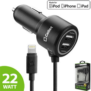 Cellet 22 Watt (4.4 Amp) 2 Port + Lightning 8 Pin Cable Car Charger (Apple MFI Certified) - Mobile Accessories USA