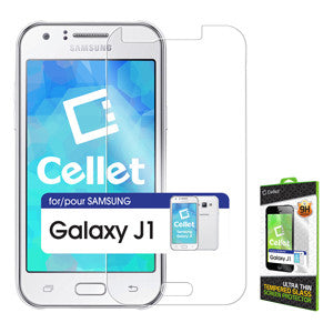 Samsung Galaxy J1 Tempered Glass Screen Protector, Cellet 0.3mm Premium Tempered Glass Screen Protector for Samsung Galaxy J1 (9H Hardness) - Mobile Accessories USA