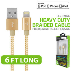 USB-A to Lightning Cable, Cellet Lightning 8 Pin (Apple MFI Certified) 6ft 1.8m Nylon Braided USB Charging and Data Sync Cable - Gold - Mobile Accessories USA