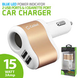 Cellet 3 in 1 Car Charger with 2 USB Ports and 1 Car Socket Lighter Adapter – White/Gold - Mobile Accessories USA