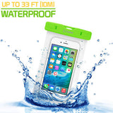 Cellet Universal IPX8 Waterproof Case for Apple iPhone 7 Plus, 6s Plus, Samsung Galaxy S7 edge, Large Smartphones, Digital Cameras, MP3 Players and More - Green - Mobile Accessories USA