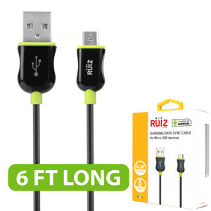 RUIZ by Cellet 6ft. Charging/Data Sync Micro USB Cable - Green - Mobile Accessories USA
