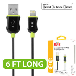 RUIZ by Cellet Apple MFI Certified 6ft. Lightning 8 Pin Charging/Data Sync Cable for iPad, iPhone, iPod - Green - Mobile Accessories USA