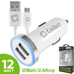 Cellet RapidCharge 12W 2.4A Dual USB Car Charger with Micro USB Cable - White - Mobile Accessories USA
