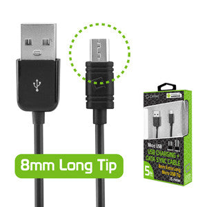Cellet Extra Long 8mm Tip Micro USB Charging & Data Sync Cable - Mobile Accessories USA