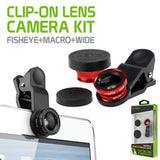 Cellet Universal 3 in 1 Fisheye / Wide Angle / Macro Clip-on Camera Lens Kit - Mobile Accessories USA
