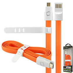Cellet 3 Ft. Flat Wire Micro USB Charging/Data Sync Cable - Orange - Mobile Accessories USA